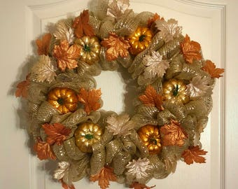 Sparkle Harvest Fall Deco Mesh Wreath