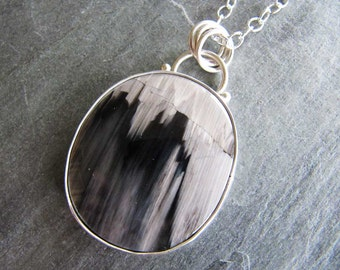 Large Petrified Ashwood Pendant in Sterling Silver