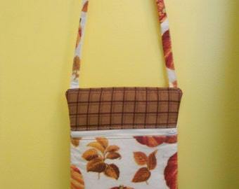 Cross Body Bag- Bags and Purses-Women's Purse-Fall Leaves and Pumpkins