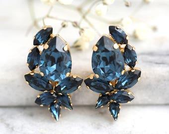 Blue Earrings, Blue Navy Earrings, Bridal Blue Earrings, Dark Blue Earrings, Bridal Swarovski Blue Earrings, Navy Blue Bridesmaids Earrings.