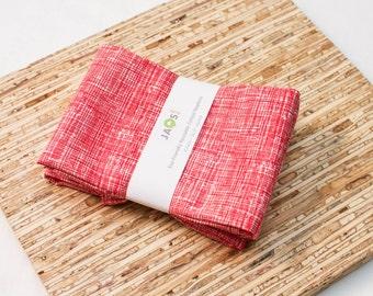 Large Cloth Napkins - Set of 4 - (N4259) - Red Texture Crosshatch Modern Reusable Fabric Napkins