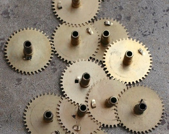 Vintage selection of clock gears -- brass -- set of 12 -- D2