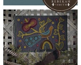 New! Primitive Folk Art Wool Applique Pattern:  A BIRD'S TAIL - Design by Rebekah L. Smith
