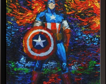 Vincent Van Gogh Starry Night Posters Superhero Captain America Inspired Canvas Wall Art Nursery Decor Wall Decor Wall Hang Room Decor A062