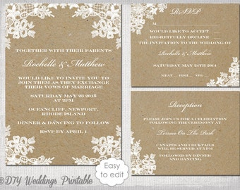 Rustic Wedding invitation template DIY Lace Doily