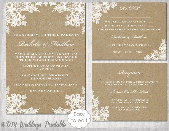 Rustic Wedding Invitation Set DIY Rustic Lace
