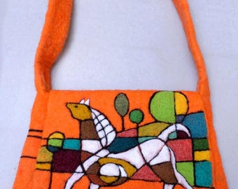 """Bag felted wool """"wild horse"""" - 100% felted wool needle, silk - unique"""