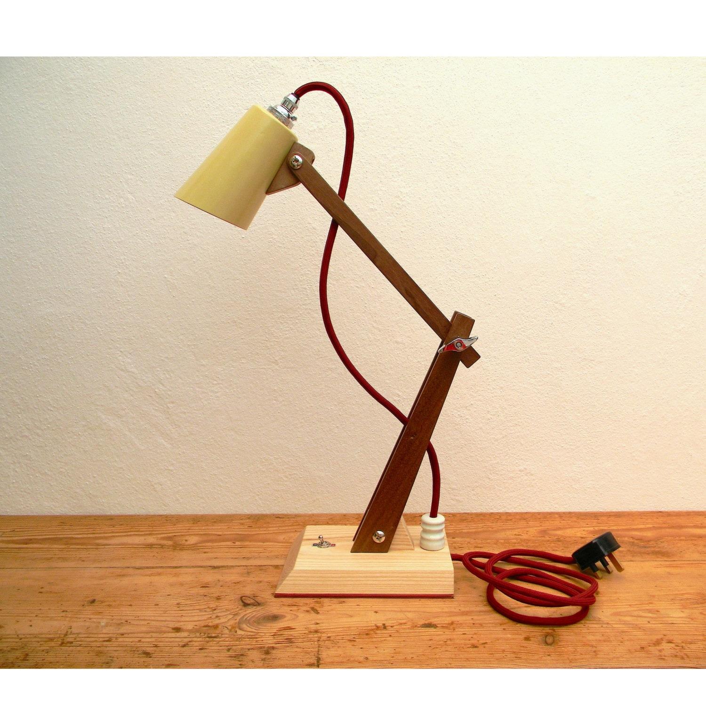 Wooden table lamp hector handmade modernist desk lamp light zoom aloadofball Image collections