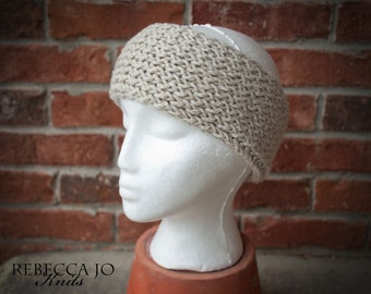 Neutral color soft beige knit headband