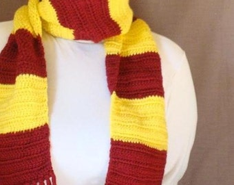 Red and Yellow Striped Scarf  for Men or Women - Yellow and Red Stripe Scarf - Long Scarf - Crochet Scarf - Hoooked Scarves MADE TO ORDER