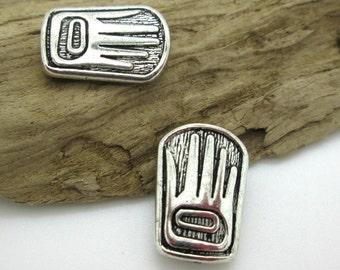 Northwest Totem Greeting Hand Charm, Tribal Pewter Hand Bead, 18x13 (2)