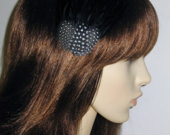 Black Feather Fascinator HAIR CLIP Bridesmaids Hair Accessory Handmade Wedding 'Gwen'