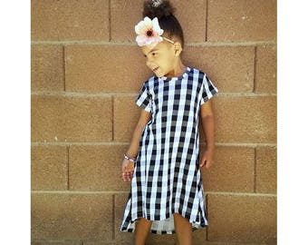 Girls Black and White Buffalo Plaid Dress - Toddler Dress - Baby Dress - Summer Dress - Girls Plaid Dress - Summer Dress - 6 M- Girls 12