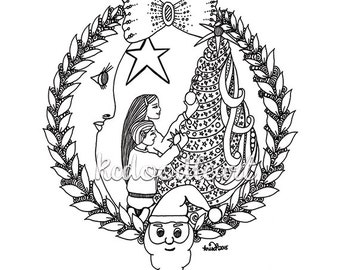 Instant Digital Download - Christmas Coloring Page. Kids decorating the Christmas Tree, moon and star