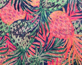 """multi gypset paradise dobby cotton fabric square 18""""x18"""" ~ lilly resort 2017 ~ lilly pulitzer"""