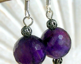 Sterling Silver Wire Earrings With Faceted Round, ,Amethyst Jewelry