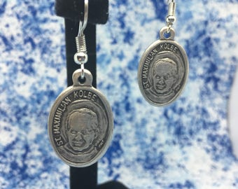 Saint Maximilian Kolbe   Patron Saint of Drug Addicts, Prisoners, and Journalist   With or Without Bead   Nickel Free   Dangle Hook Earrings