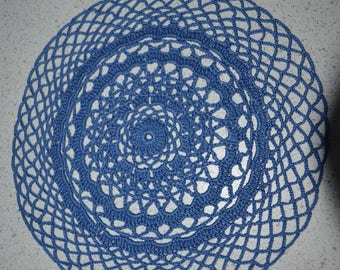 Handmade 22 cm, blue, round, made with fine cotton crochet doily
