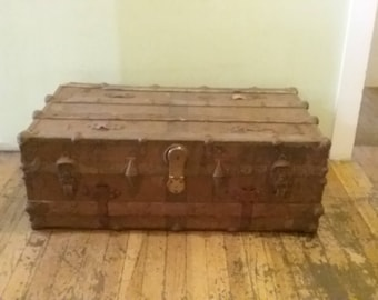 Wood and Metal Trunk, Vintage Rusty Trunk, Worn Out Trunk,