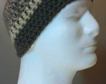 Men's Brown and Tan Striped Crocheted Beanie Hat