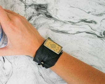 Firefly Leather and Sequin Cuff