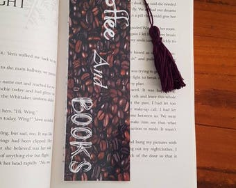 Coffee and Books bookmark with tassel. Laminated bookmark.