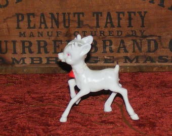 Vintage Mid Century Rudolph the red nose reindeer Plastic Figure