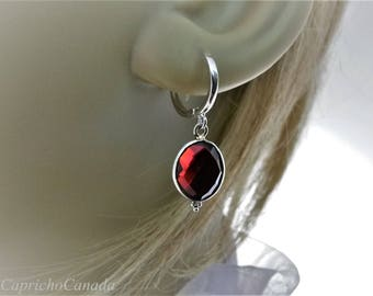 Garnet earrings.  Gemstone  dangle earrings. Silver 925 earrings. European hoop earrings.