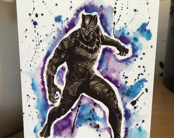 Black Panther. Inky Style Greeting Card. A6. PRINT