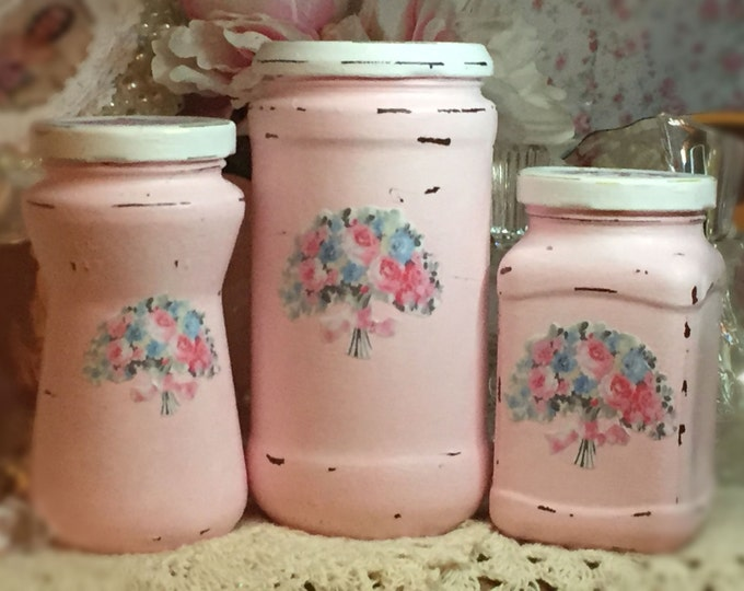 Featured listing image: 3 Shabby Chic Pink Vintage Glass Jars Canisters Decoupage Flower Floral Bouquet Storage Painted Chippy Distressed Vase Centerpiece Home Dorm