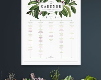 ELDERBERRY Family Tree PORTRAIT orientation, 4 or 5 generations, for large families - Deluxe Edition 17 x 22 - PERSONALIZED