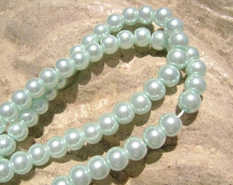 Pearlescent Glass Pearl Pearls Beads Baby Blue 6mm Round LARGE 30mm Strand