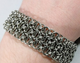 Chainmaille Cuff Bracelet - Stainless Steel Chainmail Jewelry