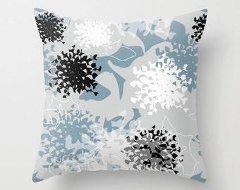 Modern flower pillow, powder blue decor, stylized chrysanthemum pillow, contemporary cushion, gray blue soft furnishing,outdoor throw pillow