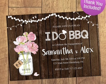 I DO BBQ Invitation, Rustic Mason Jar, Engagement Party Invitation, Rustic Engagement, Wedding I do Bbq FREE Thank You Included