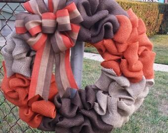 Fall Wreath, Fall, Autumn Wreath, Autumn, Fall Ribbon, Chocolate, Orange, Cream, Burlap Wreath, Fall Burlap,