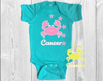 Cancer Baby Onesie, Teal, Infant, Zodiac, Bodysuit