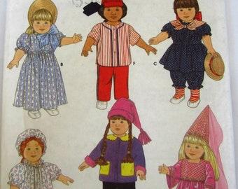 18 inch Doll Clothes: Dresses, Hat, Nightshirt, Nightcap, Jacket, Top, Pants Vintage 1990s Simplicity Crafts Pattern 7949/0649 UNCUT