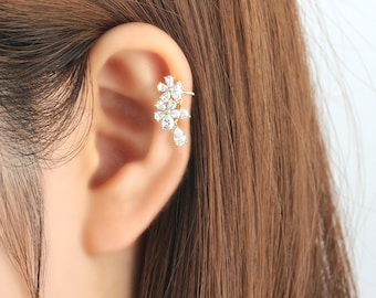 Ear cuff no piercing, non pierced, flower ear cuff, ear jacket, ear climber, CZ ear cuff, ear crawler, no pierce, CZ ear climber, earcuffs
