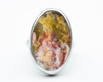 Plume Agate, Regency Rose Plume Agate, Plume Agate Ring, Sterling Silver Ring, Boho Ring, Statement Ring, Le Chien Noir, Size 9.25