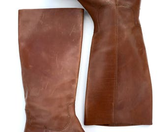 Vintage - Leather - Etienne Aigner - Brown - Knee High Ropers - Size 7.5 - Riding Boots