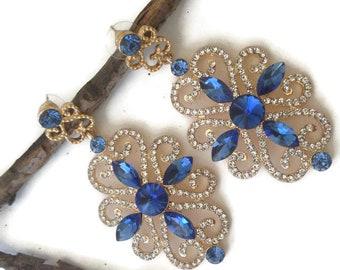 Sapphire Chandelier Earrings encrusted with White Rhinestones, Prom Earrings, Wedding Earrings, Blue Earrings, Rhinestone Earrings