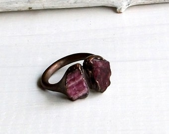 Tourmaline Ring Gemstone Ring Rough Stone Ring Cocktail Ring Copper Red Pink Fuschia Berry Wine Artisan Handmade