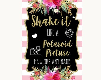 Gold & Pink Stripes Photo Picture Personalised Wedding Sign