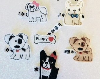 Hair clips Puppy Love U CHOOSE set of 2 spotted dog glitter bone paw print hairclip dog rescue toddler girls kids tween hair accessories