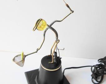 Moving Fisherman Metal Sculpture Statue Vintage Metal Electrical Animated Art Gordon Bradt Kinetic Fisherman