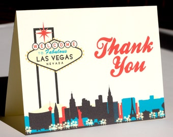 Las Vegas Thank You Card Colorful Skyline Wedding Event City Vegas Sign Folded Customization Available