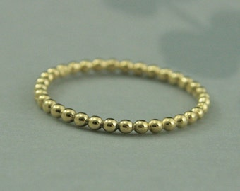 Yellow Gold Beaded Band--14K Yellow Gold Bubble Band--Beaded Band-- Gold Stacking Ring--Thin Spacer Band--Unique Wedding Band