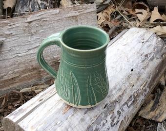 Pottery Mug Wheat Green 12 ounce Handmade by Daisy Friesen