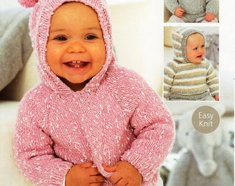 "baby KNITTING PATTERN pdf baby / childs hooded sweater jumper with hood hoodie 16-26"" DK light worsted 8ply pdf instant download"